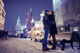 loving couple kissing in winter night